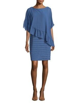 Photo of Adrianna Papell Ruffled Overlay Sheath Dress