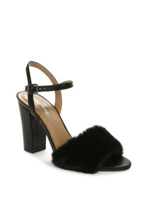 Magda Faux Fur Dress Sandals by Luxury Rebel