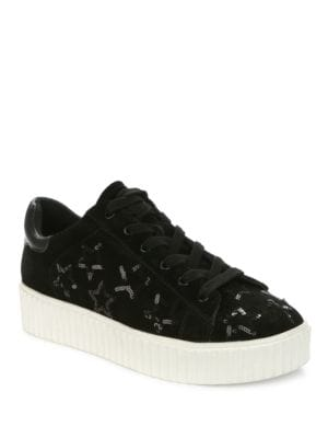 Tinella Sport Casual Suede Sequin Platform Sneakers by Luxury Rebel