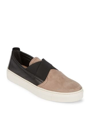 Contrast Leather Slip-On Sneakers by The Flexx