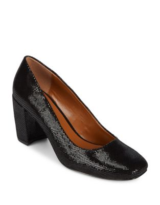 Leather Block Heel Pumps by H Halston