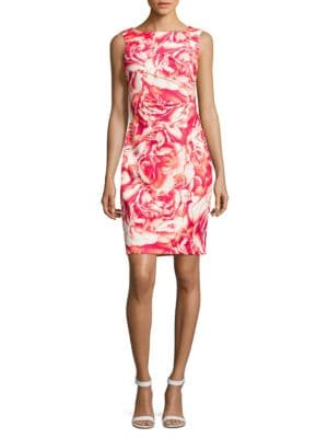 Pleated Floral-Print Sheath Dress by Calvin Klein