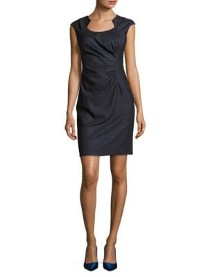 Sunburst Pleated Cap Sleeved Sheath Dress by Calvin Klein