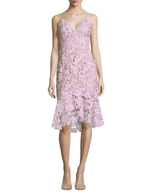 Floral Lace Tiered Hem Dress by Vera Wang