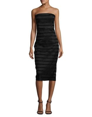 Heather Striped Strapless Midi Dress by Misha Collection