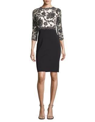 Embroidered Top Sheath Dress by Tadashi Shoji