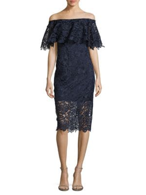 Lace Floral Off Shoulder Dress by Tadashi Shoji