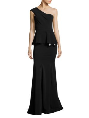 One-Shoulder Peplum Gown by Nicole Bakti