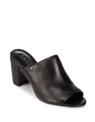 Harlowe Leather Peep Toe Mules by Lauren Ralph Lauren