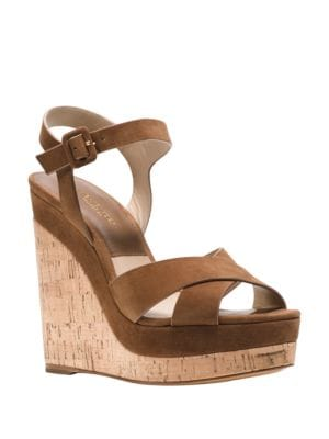 Cate Leather Platform Wedge Sandals by Michael Kors Collection