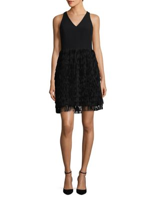 Fringe-Accented A-Line Dress by Aidan Aidan Mattox