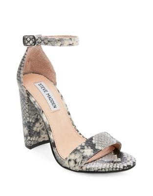 Carrson Snake Print Ankle Strap Sandals by Steve Madden