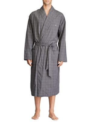 Checkered Self-Tie Robe...