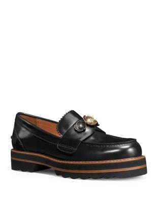 Polished Leather Loafers by COACH