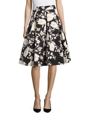 Pleated Floral A-Line Skirt by Eliza J