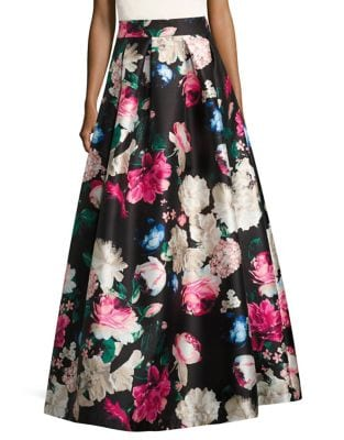 Pleated Floral Ball Skirt by Eliza J