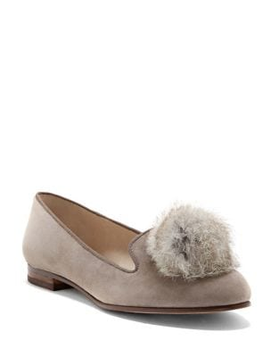 Andres Rabbit Fur Puff Suede Flats by Louise et Cie