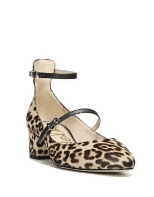 Leopard Printed Suede Ankle-Strap Pumps by Sam Edelman