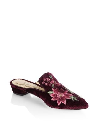 Aven Velvet Embroidered Slides by Sam Edelman