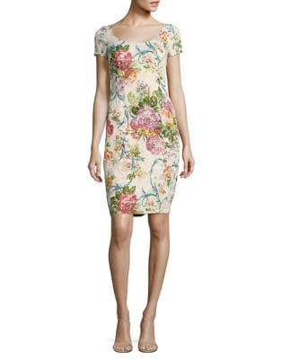 Beaded Floral Sheath Dress by Adrianna Papell