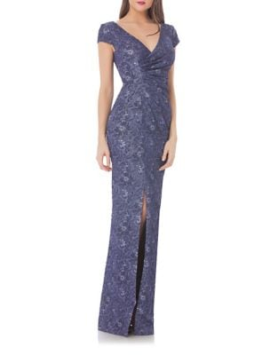 Metallic Floral Front Slit Gown by Js Collections