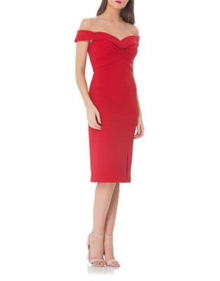 Off-the-Shoulder Midi Sheath Dress by Js Collections