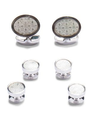 Engraved Mother-of-Pearl Cuff Links and Studs by Paper Crown