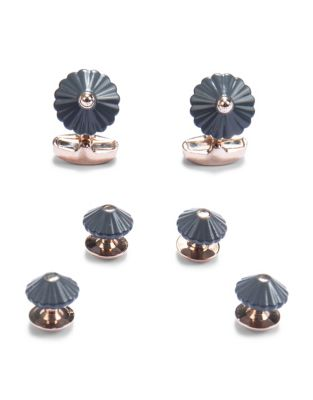 Rose Gold Dress Cuff Links Set by Paper Crown