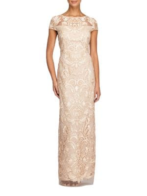 Illusion-Lace Column Gown by Alex Evenings