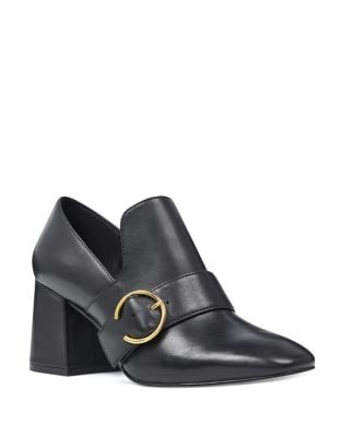 Alberry Block Heel Leather Loafers by Nine West