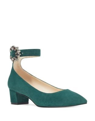 Bartlly Block Heel Suede Pumps by Nine West