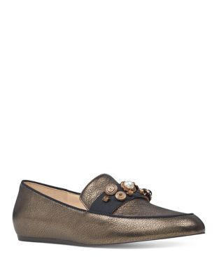 Baus Metallic Detailed Loafers by Nine West