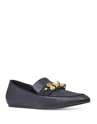 Baus Detailed Leather Loafers by Nine West