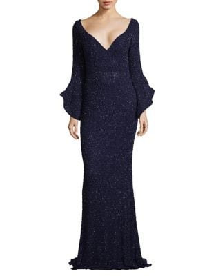 Couture Beaded Bell Sleeve Dress by Mac Duggal