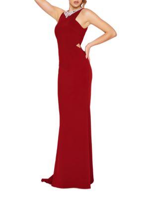 Jewel Neck Jersey Dress by Mac Duggal
