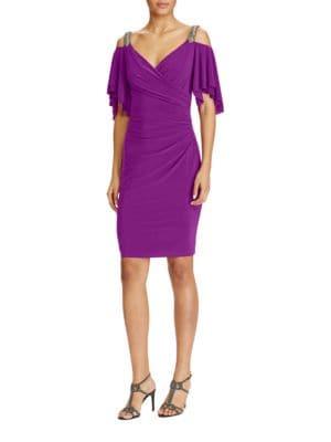 Beaded Cold-Shoulder Sheath Dress by Lauren Ralph Lauren