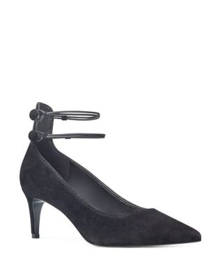 Sawtelle Suede Ankle Strap Pumps by Nine West