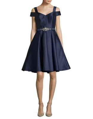 Cold-Shoulder Belted Fit and Flare Dress by Eliza J