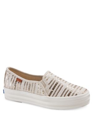Triple Decker Linen and Sequin Sneakers by Keds