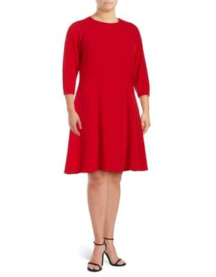 Plus Ribbed Fit-&-Flare Dress by Calvin Klein