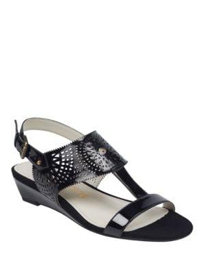 Maddie Laser-Cut Sandals by Anne Klein