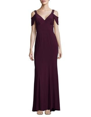 Embellished Cold-Shoulder Gown by Betsy & Adam