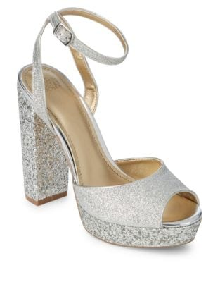 Zale Sparkle Leather Platform Sandals by Belle Badgley Mischka