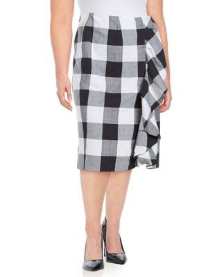 Plus Plaid Pencil Skirt...