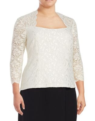 Plus Mesh Lace Fitted Blouse by Alex Evenings