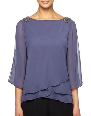 Embellished Asymmetric Blouse by Alex Evenings