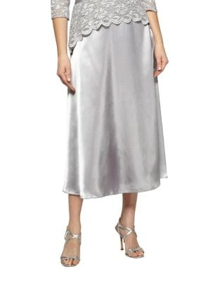 Satin Charm Tea Length Skirt by Alex Evenings
