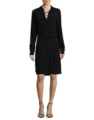 Lace-Up Crepe Shirtdress by Lord & Taylor
