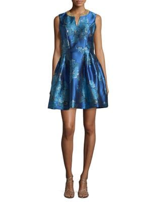 Rita Brocade Fit-and-Flare Dress by Belle Badgley Mischka