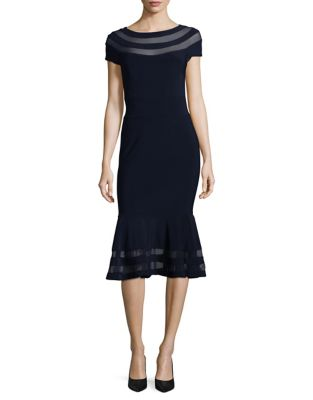 Mesh-Trimmed Sheath Dress by Xscape